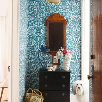 entrances/foyers - damask wallpaper, blue wallpaper, blue damask wallpaper, turquoise damask wallpaper, turquoise blue damask wallpaper, blue damask wallpaper, foyer chest, black foyer chest, foyer wallpaper, wallpaper for foyer,