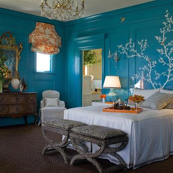 Kendall Wilkinson Design - bedrooms - zebra ottoman, zebra bench, turquoise walls, turquoise blue walls, toile roman shade, white and orange toile, orange tray, lacquer tray, orange lacquer tray,