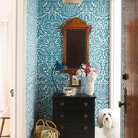 entrances/foyers - blue, striped, rug, black, chest, mirror, blue, damask, wallpaper, white, umbrella, stand, damask wallpaper, blue wallpaper, blue damask wallpaper, turquoise damask wallpaper, turquoise blue damask wallpaper,