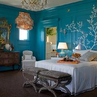 Kendall Wilkinson Design - bedrooms - dewhite, black, bench, blue, walls paint, color, wall, mural,  Bold blue walls paint color, turquoise blue