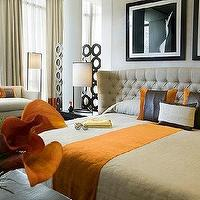 Kelly Hoppen Interiors - bedrooms - kelly hoppen, bedroom, orange, black, leather, pillows, ivory, tufted, wingback, headboard, hotel, wingback headboard, tufted headboard, tufted wingback headboard,