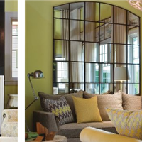 Green Design  Mirror, fireplace, gray sofa, missoni pillows, floor lamp and ...