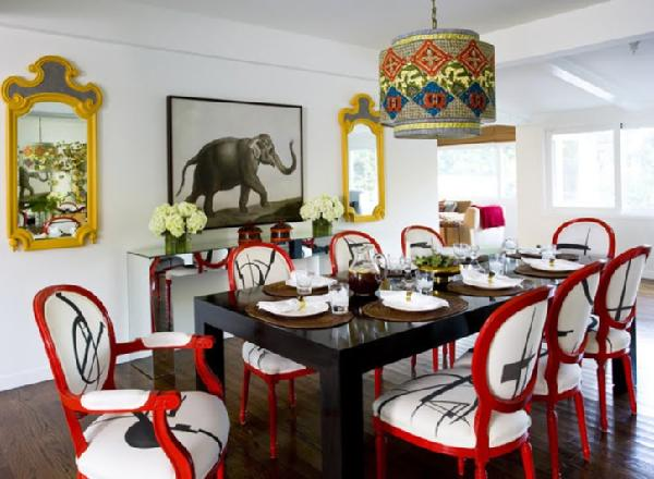 M. Design Interiors - dining rooms - dining room, modern, red, dining, chairs, glossy, black, lacquer, dining, table, pendant, light,  dining