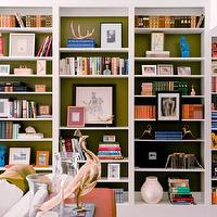 M. Design Interiors - dens/libraries/offices - built-ins, bookcase, green, living room, built-ins, built-in cabinets, library built-ins, library built in cabinets, white built-ins, white built-in cabinets, built-in bookcases, library bookcase, floor to ceiling built-ins, floor to ceiling built-in cabinets, built in bookshelves, bookshelves, white bookshelves, white bookcases, white built-in bookcases, white built in bookshelves, lined bookcases, lined bookshelves, lined built ins,