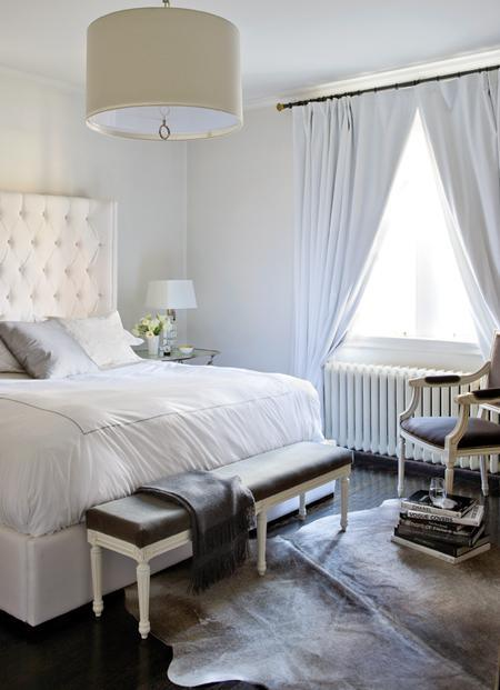 Ferreira Design - bedrooms - Meurice Pendant, gray, French, bench, accent, chair, smokey, gray, cowhide, rug, white, leather, tufted, headboard, Jonathan Adler, Meurice, chrome, drum, pendant, white, drapes, glass, lamp, shiny, dark, wood, floors, bedroom,