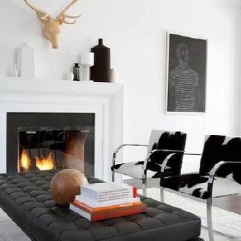 House & Home - living rooms - barcelona bench, black tufted bench, black leather bench, black leather tufted bench, cowhide chairs, black and white chairs, Knoll Bench, Brno Flat Bar Chair,
