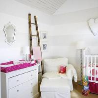 House & Home - nurseries - bamboo ladder, striped nursery, horizontal striped walls, changing table,  Adorable white & pink girl's nursery design