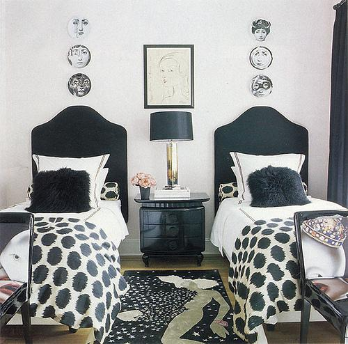 bedrooms - Fornasetti Plates, Ikat Fabric, piero fornasetti, decorative plates, decorative wall plates, black and white bedroom, fornasetti plates, shared bedroom,