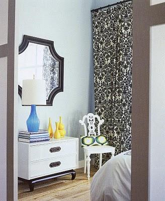 bedrooms - bedroom, black, mirror, white, chest, chair, ivory, black, damask, drapes, blue, lamp, yellow, vases, damask curtains, damask drapes, black and white curtains, black and white drapes, black and white damask drapes, black and white damask curtains, ivory and black curtains, ivory and black drapes,