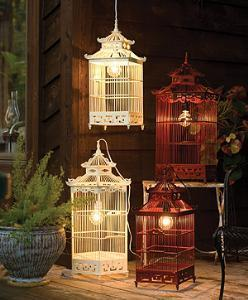 Decor/Accessories - Birdcage Lanterns - lighting, birdcage, lantern, wood, hanging lamp, red, ivory