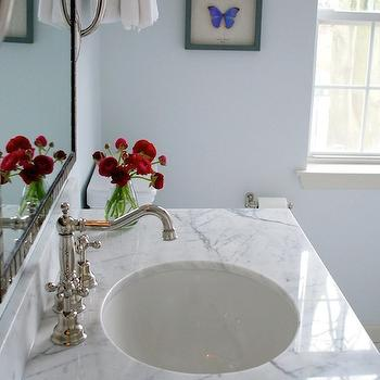 Teresa Meyer Interiors - bathrooms - white carrera marble, white carrera marble top, white carrera marble countertop, blue paint colors, blue bathroom colors, blue bathroom paint colors, vintage style faucet, White Carrara Marble,