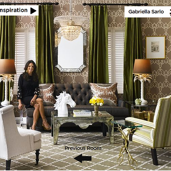 living rooms - mirrored coffee table, green curtains, green drapes, green silk curtains, green silk drapes, gray lattice rug,  Gabriella Sarlo
