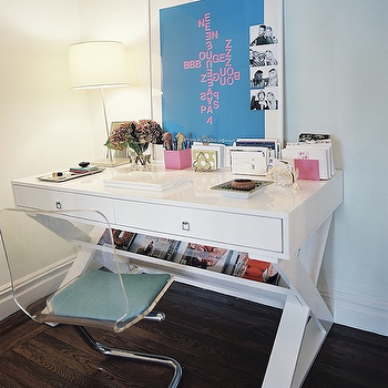 Lonny Magazine - dens/libraries/offices - lucite chairs, lucite desk chair, white desk, white lacquer desk, white lacquered desk, lacquer desk, lacquered desk, , Z Gallerie Jett Desk,