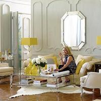 Jan Showers - living rooms - tufted, chesterfield, sofa, ivory, cowhide, rug, white, gourd, lamps, yellow, square, lamp, shades, coffee table, gray, yellow, living room,