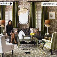living rooms - brown, velvet, sofa, green, striped, chair, lamps, mirrored, coffee, table, green, silk, drapes, venetian, mirror, taupe, wallpaper, brown, lattice, rug, brown, gray, green, living room, mirrored coffee table,
