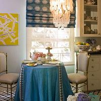 Kelly Wearstler - dining rooms - dining room, blue, table, skirt. dining, chairs, blue, white, roman, shades,  Blue silk roman shade, blue table