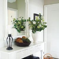 Style at Home - entrances/foyers - white farmhouse table, white farmhouse console table, , Flush Schoolhouse Pendant,  Jacki Glass & Pia Higglestone