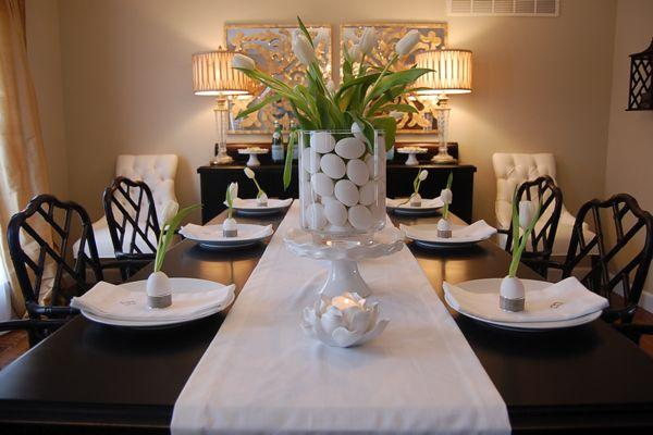 Easter table ideas asian dining room benjamin moore for Modern dining room centerpieces