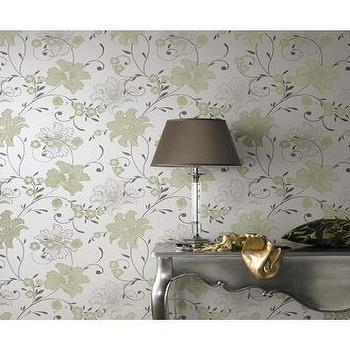 Wallpaper - 59026 Laurence Llewelyn-Bowen Taffetia Cream,Green Floral Wallpaper : Graham & Brown - metallic, silver, yellow, wallpaper