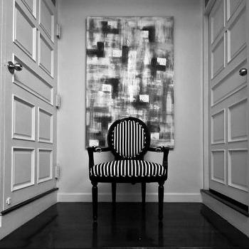 Monochrome Inc Interior Design - entrances/foyers - Motif chair, black and white stripe, polished black floor, white walls, acrylic on canvas artwork, striped chair, black and white striped chair,