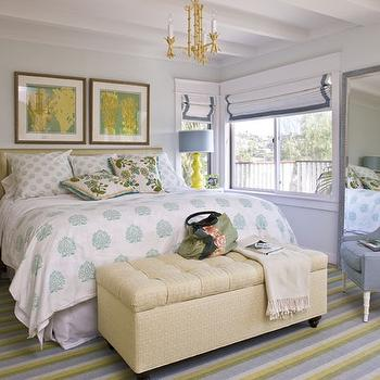 Waterleaf Interiors - bedrooms - yellow and gray bedroom, yellow lamps, yellow table lamps, gray floor mirror, tufted bench, cream tufted bench, step side table, step nightstands,