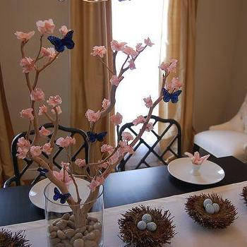 dining rooms - grant beige, easter, easter tablescape, whimsical tablescape, whimsical easter tablescape, spring tablescape, black dining table, black bamboo chairs, egg cups, easter nests, speckled eggs manzanita branch, Wheat Silk Dupioni Drapes, Martine Chair,