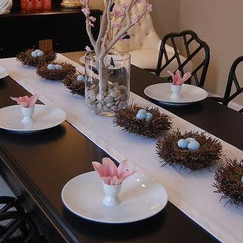 dining rooms - grant beige, easter, easter tablescape, whimsical tablescape, whimsical easter tablescape, spring tablescape, black dining table, black bamboo chairs, egg cups, easter nests, speckled eggs manzanita branch, Macau Chair, Martine Chair,