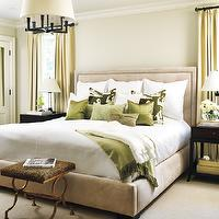 Samantha Farjo Design - bedrooms - Thomas Paul, silk, pillows, tufted, tan, beige, bed, headboard, soft, green silk, drapes, green, walls, paint, color, bedroom, Square Tube Chandelier, Thomas Paul Silk Pillow,
