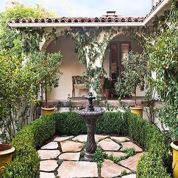 Garden Fountain, Mediterranean, garden, Traditional Home