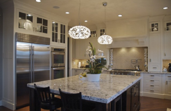 Veranda Interiors - kitchens - Pratt and Lambert - Balsa - painted kitchen, lacquered, kitchen, cabinets, white persia, granite, countertops, travertine, tiles, backsplash, pendant, island, lights, glass-front, cabinets, chestnut, hardwood, floors, alder, stained island, sub zero, fridge, thermador, range, white granite countertops, white granite, white persia granite countertops, white persia granite,