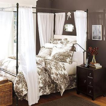 bedrooms - canopy bed, black canopy bed, iron canopy bed, pottery barn colors, pottery barn paint, pottery barn paint colors, pottery barn bedroom paint, pottery barn bedroom colors, chocolate brown paint, chocolate brown paint colors,