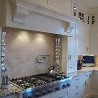 Veranda Interiors - kitchens - painted cabinets, custom hood, travertine, tiles, backsplash, basket weave, granite, countertops, hardwood, range, hardware, chestnut, wood, floors, thermador, range, glass-front, cabinets,