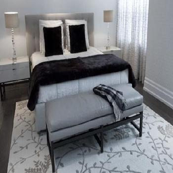 Croma Design - bedrooms - gray bedroom, gray bedroom ideas, gray bench, gray linen bench, gray headboard, black blanket, black faux fur throw,
