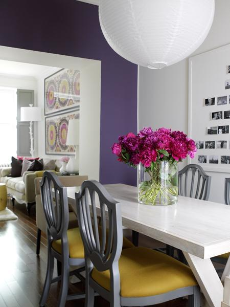 House & Home - dining rooms - Benjamin Moore - Nightfall - purple, accent, wall, gray, shield, dining, chairs, yellow, cushions, natural, birch, dining, table, white, lantern, pendant, purple, gray, yellow, dining room, shield back chairs, upholstered shield back chairs, gray shield back chairs, gray and yellow shield back chairs,