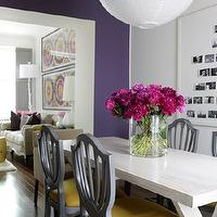 House & Home - dining rooms - purple, accent, wall, gray, shield, dining, chairs, yellow, cushions, natural, birch, dining, table, white, lantern, pendant, purple, gray, yellow, dining room, shield back chairs, upholstered shield back chairs, gray shield back chairs, gray and yellow shield back chairs,