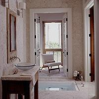 My Home Ideas - bathrooms - in ground tub, in ground bathtub, zen bathroom,  Colleen Duffy - beautiful stone coastal bathroom design with wood