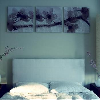 Simplee Bliss - bedrooms - rice paper lamps, rice paper table lamps,  White headboard, tall lamps, vases and cherry blossoms.