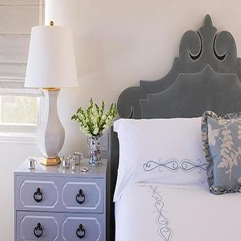 Ruthie Chapman Sommers - bedrooms - gray headboard, gray velvet headboard, lilac nightstand, lavender nightstand, Dorothy Draper Chest,  Gray