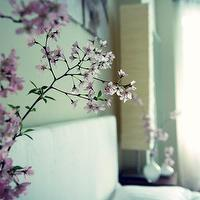 Simplee Bliss - bedrooms - rice paper lamps, chic bedroom,  White headboard, cherry blossoms, sakura, rice paper lamps and vases.