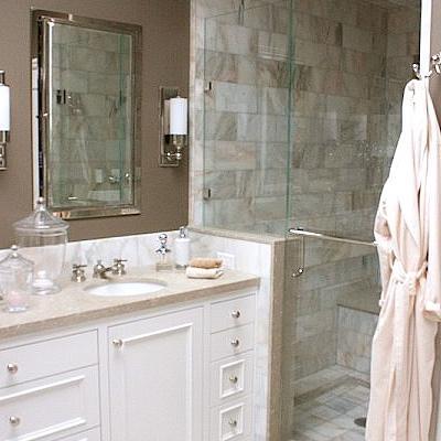 Taupe Walls Contemporary Bathroom Kimberly Ayres