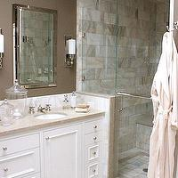Kimberly Ayres - bathrooms - taupe paint, taupe paint colors, taupe paint color, taupe walls, taupe bathrooms, taupe bathroom walls, inset medicine cabinet,