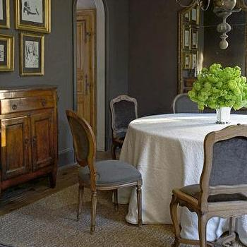 dining rooms - gray rooms, gray walls, gray dining room, french dining chairs, gray french dining chairs,  gray dining room. grey dining room.