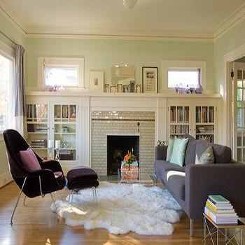 Glass Front Bookcase, Transitional, living room
