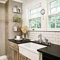 kitchens - taupe paint, taupe paint colors, taupe paint color, taupe walls, taupe kitchen cabinets, taupe cabinets, farmhouse sink, subway tile with dark grout,