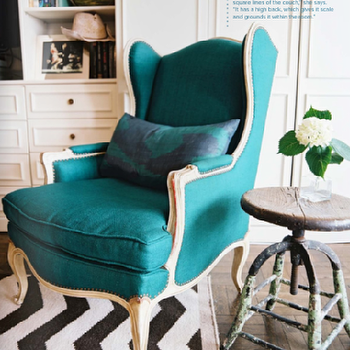 Lonny Magazine - living rooms - turquoise chair, turquoise blue, turquoise blu chair, wingback chair, turquoise wingback chair, turquoise blue wingback chair, West Elm Zigzag Rug,
