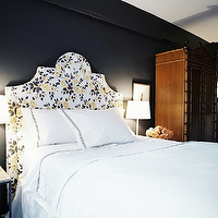 Lonny Magazine - bedrooms - rubie green fabric, marilyn fabric, bamboo armoire, faux bamboo armoire, black walls, black bedroom walls, Rubie Green Marilyn Fabric,