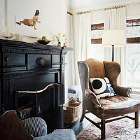 Lonny Magazine - dens/libraries/offices - black, fireplace, tobacco, leather, wingback, chair, nailhead, trim, floor, lamp, bamboo, roman, shades, ivory, drapes, white, blue, striped, ticking, rolled, arm, accent, chair,