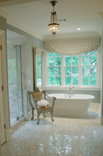 Lori Tippins Interiors - bathrooms - white, carrara, polished, marble, tiles, floors, tub, gray, chair, geometric, gray window, valance, crystal, chandelier, blue, green, walls, paint, color, bathroom,