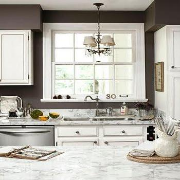 Country Living - kitchens - taupe paint, taupe paint colors, taupe paint color, taupe walls, taupe kitchens, taupe kitchen walls, white and taupe kitchen, White Carrara Marble,