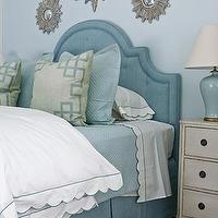 Phoebe Howard - bedrooms - silver, sunburst, mirrors, blue, headboard, bed skirt, gray, blue, pillows, white, ruffled, duvet, blue, porcelain, lamp, off-white, cream, vintage, dresser, chest, nightstand, blue, gray, bedroom, blue headboard, tufted headboard, blue tufted headboard, upholstered headboard, blue upholstered headboard,